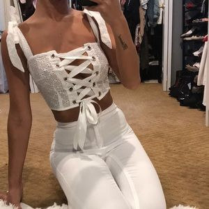 Lace up eyelet broderie crop top